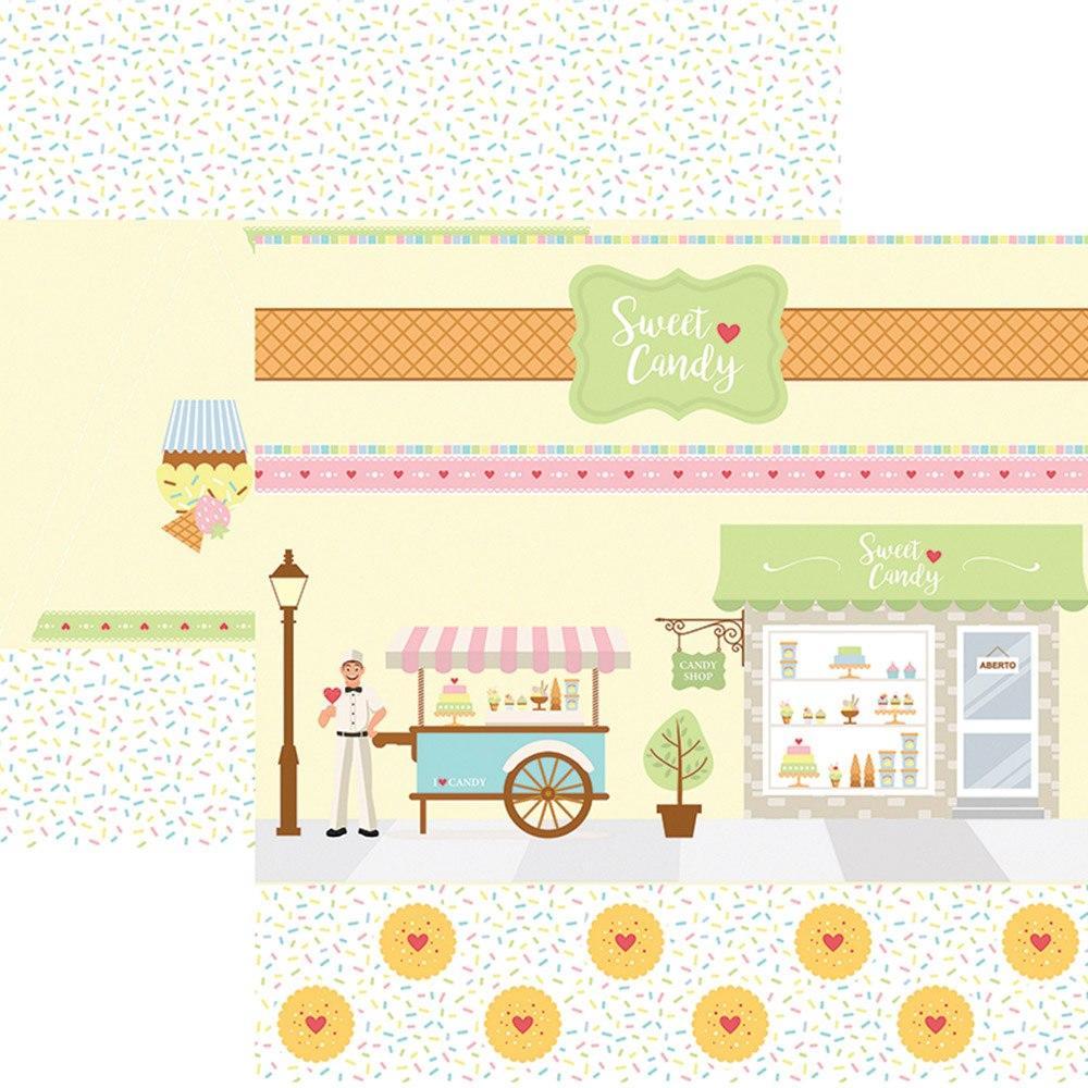 Papel Scrap Sweet Candy Cenário e Bandeirolas Toke e Crie - 17991 - SDF658