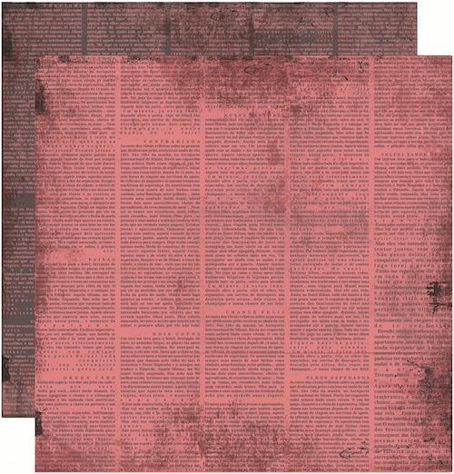 Papel Scrap Vintage Rosa Jornal Toke e Crie - 13226 - KFSB193