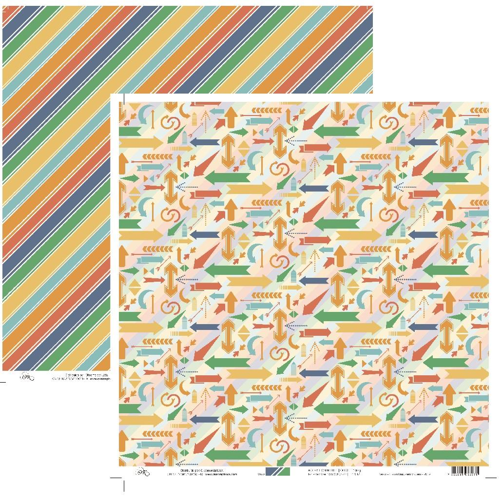 Papel Setas e Listras Diagonais Viagem Okscrapbook - 9519