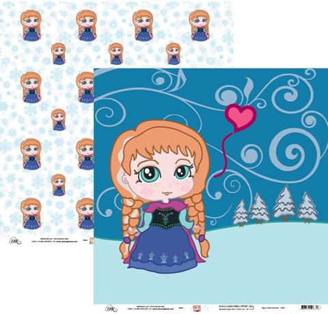 Papel Tag e Cena Ruivinha (Frozen) Okscrapbook - 7948