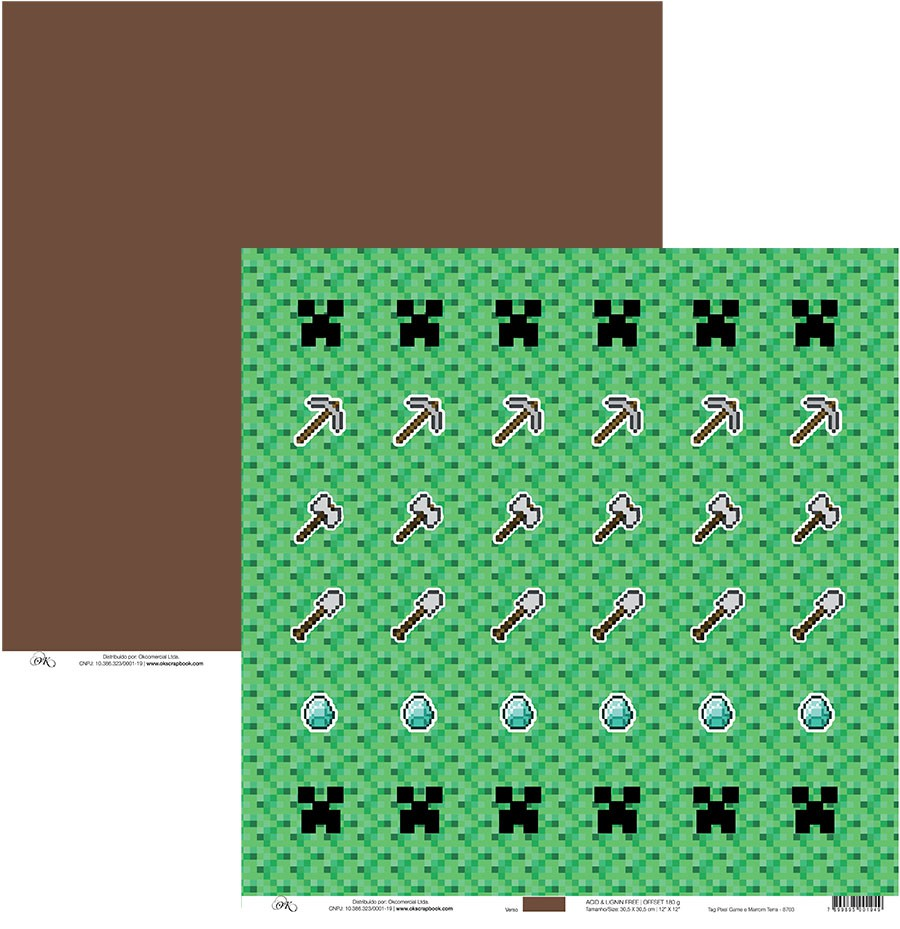 Papel Tag Pixel Game e Marrom Terra Okscrapbook - 8703