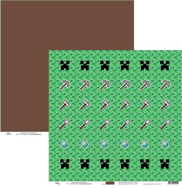 Papel Tag Pixel Game e Marrom Terra Okscrapbook - 8703
