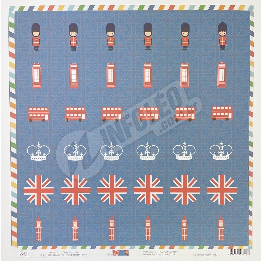 Papel Tags Londres Viagem Okscrapbook - 9512