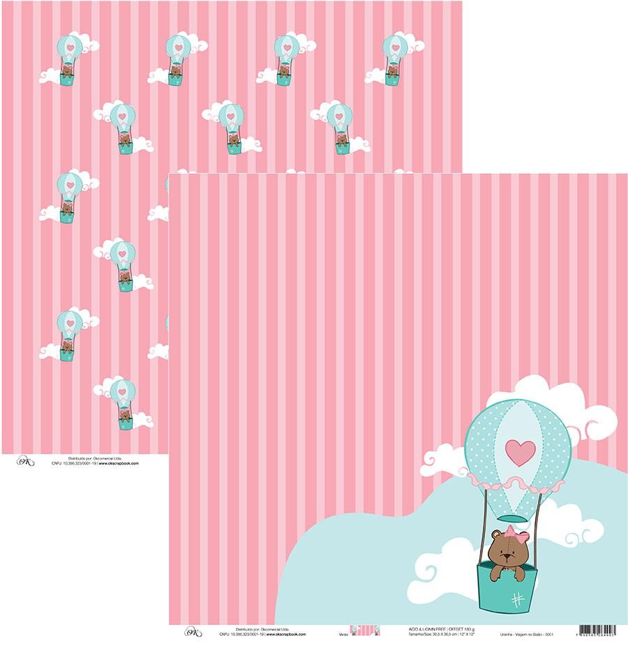 Papel Ursinha Okscrapbook - Viagem no Balão Okscrapbook - 8001