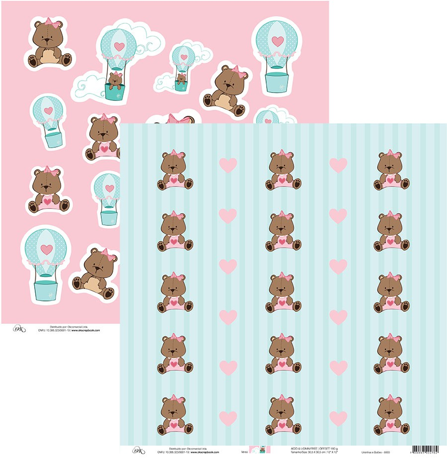 Papel Ursinhas e Balões Okscrapbook - 8003