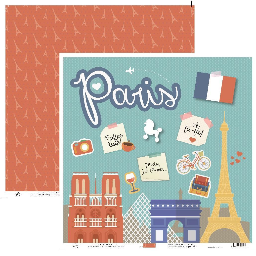 Papel Viagem Paris Okscrapbook - 9510