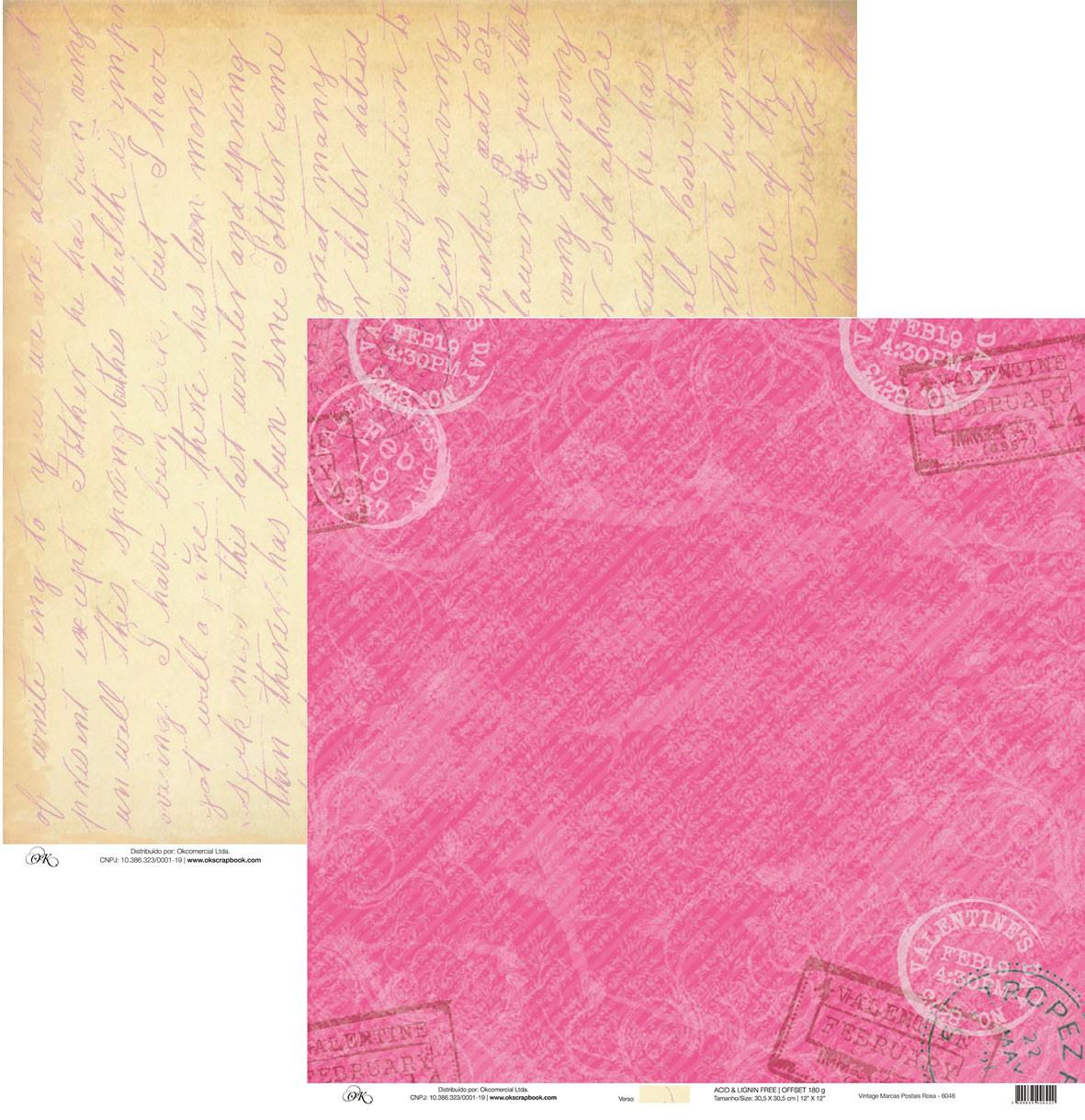 Papel Vintage Marcas Postais Rosa Okscrapbook - 6046