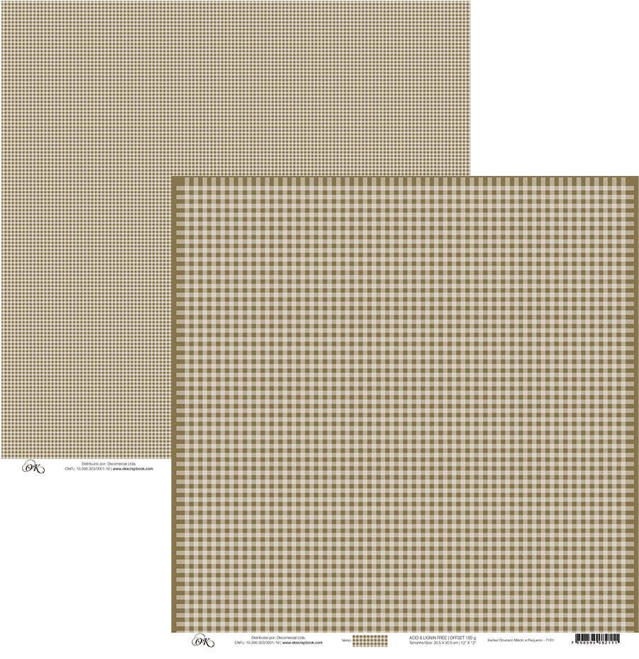 Papel Xadrez Dourado Médio e Pequeno Okscrapbook - 7181