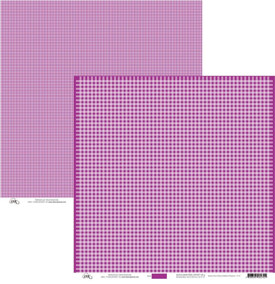 Papel Xadrez Médio e Pequeno Rosa Púrpura Okscrapbook - 7112