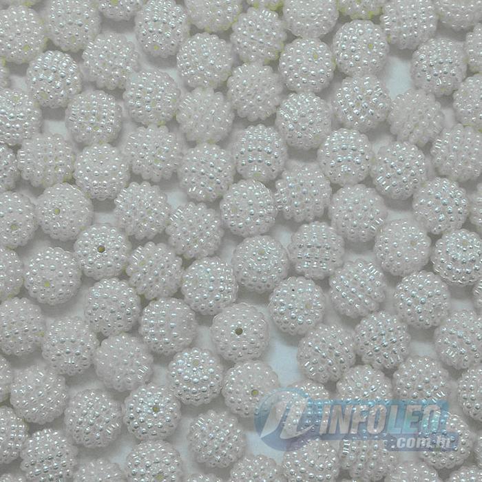 Pérola Craquelada Branco 16mm C/ Furo - 10 unidades