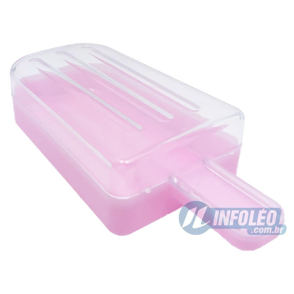 Picolé Plástico Rosa Pink Grande 5x2,5x11cm - Unidade