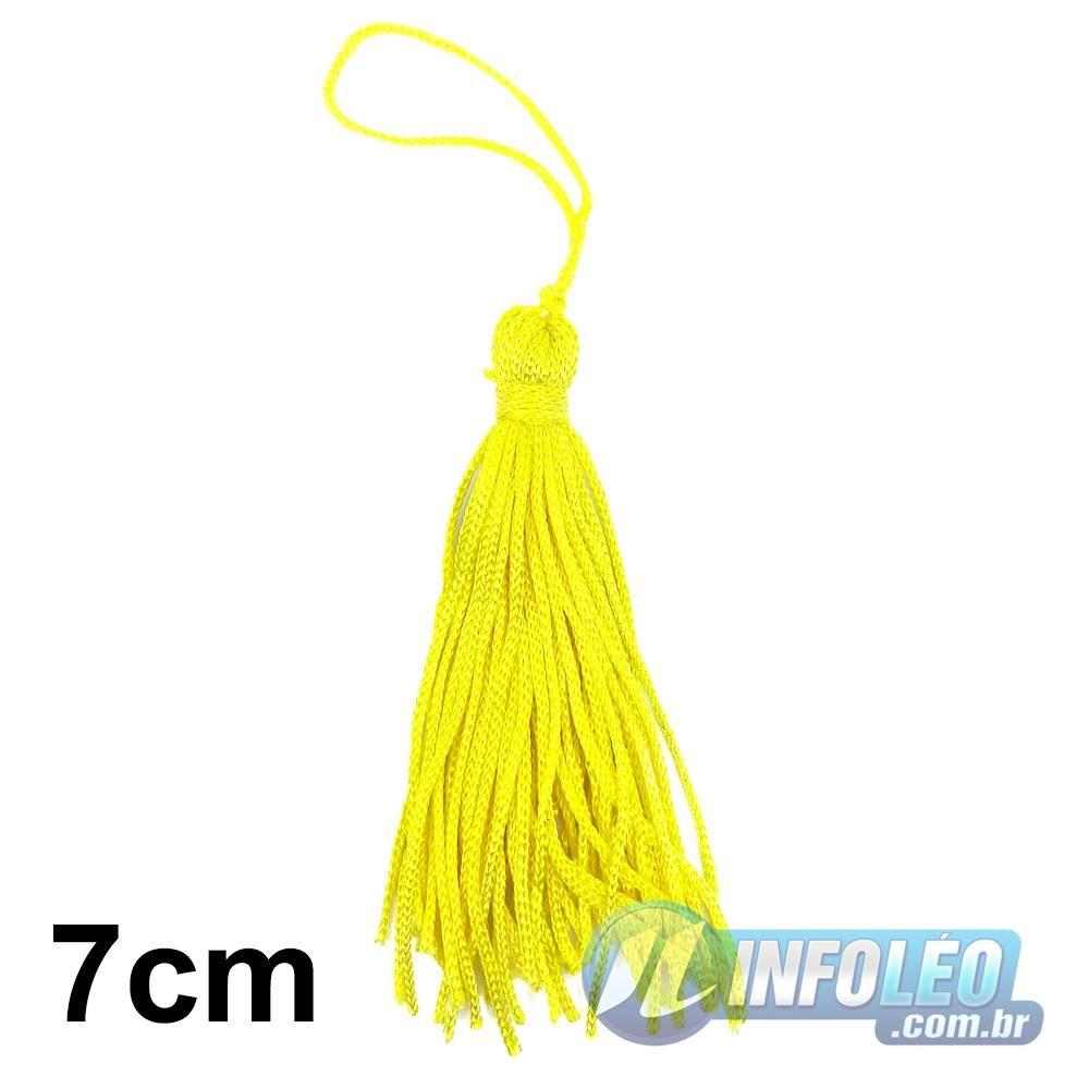 Pingente 7cm Amarelo 106 Franja de Seda (Tassel) - 10 unidades