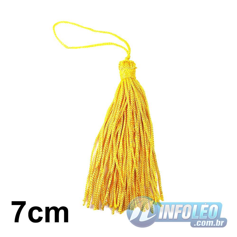 Pingente 7cm Amarelo Ouro 110 Franja de Seda - 10 unidades