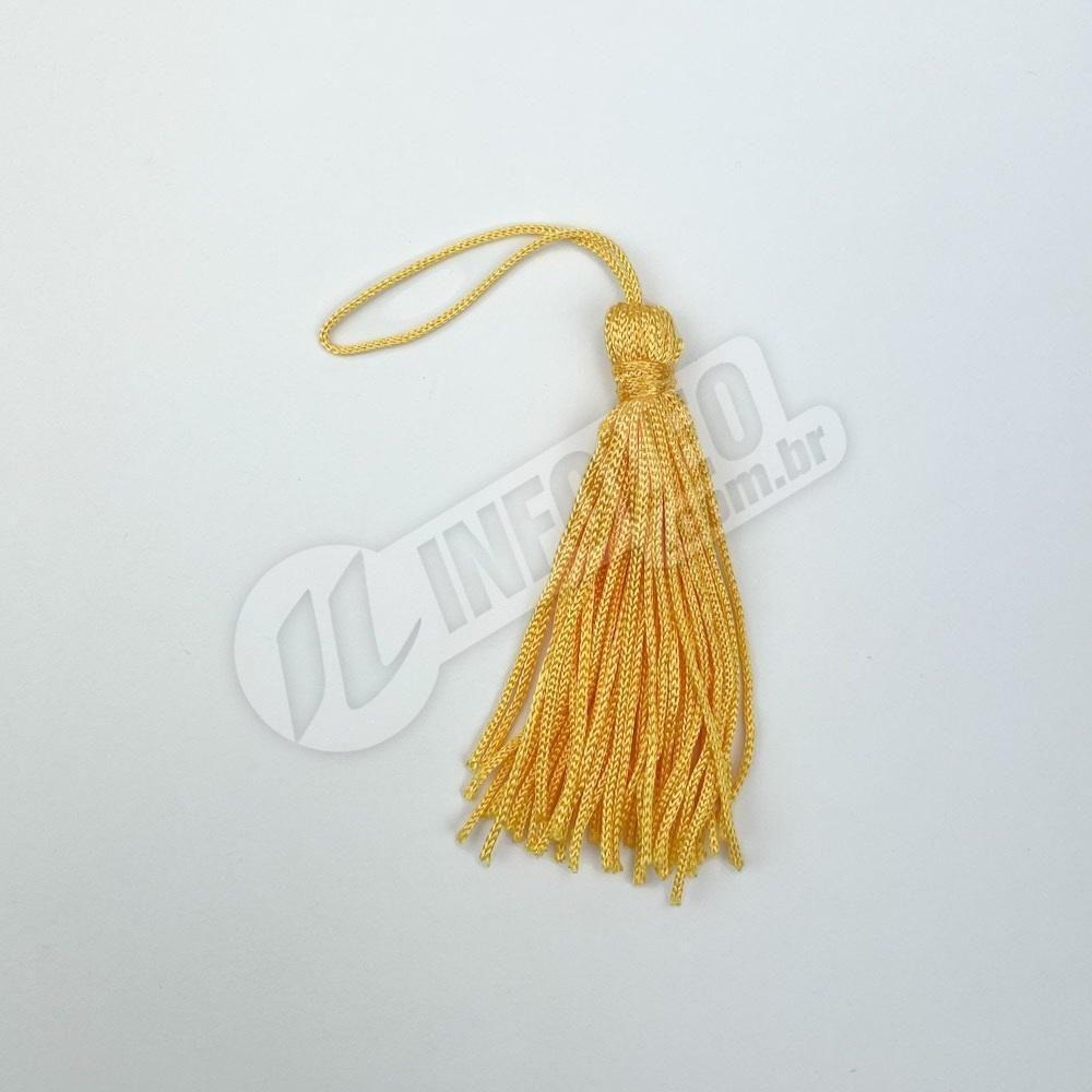 Pingente 7cm Amarelo Ouro 110 Franja de Seda (Tassel) - 10 unidades