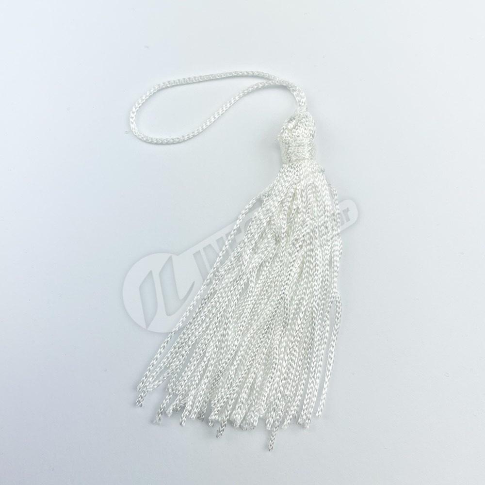 Pingente 7cm Branco Franja de Seda (Tassel) - 10 unidades