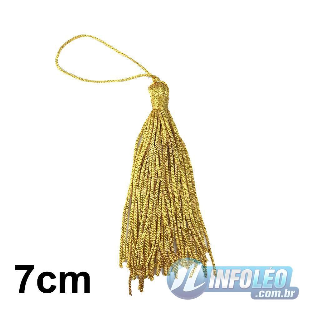 Pingente 7cm Dourado 846 Franja de Seda (Tassel) - 10 unidades