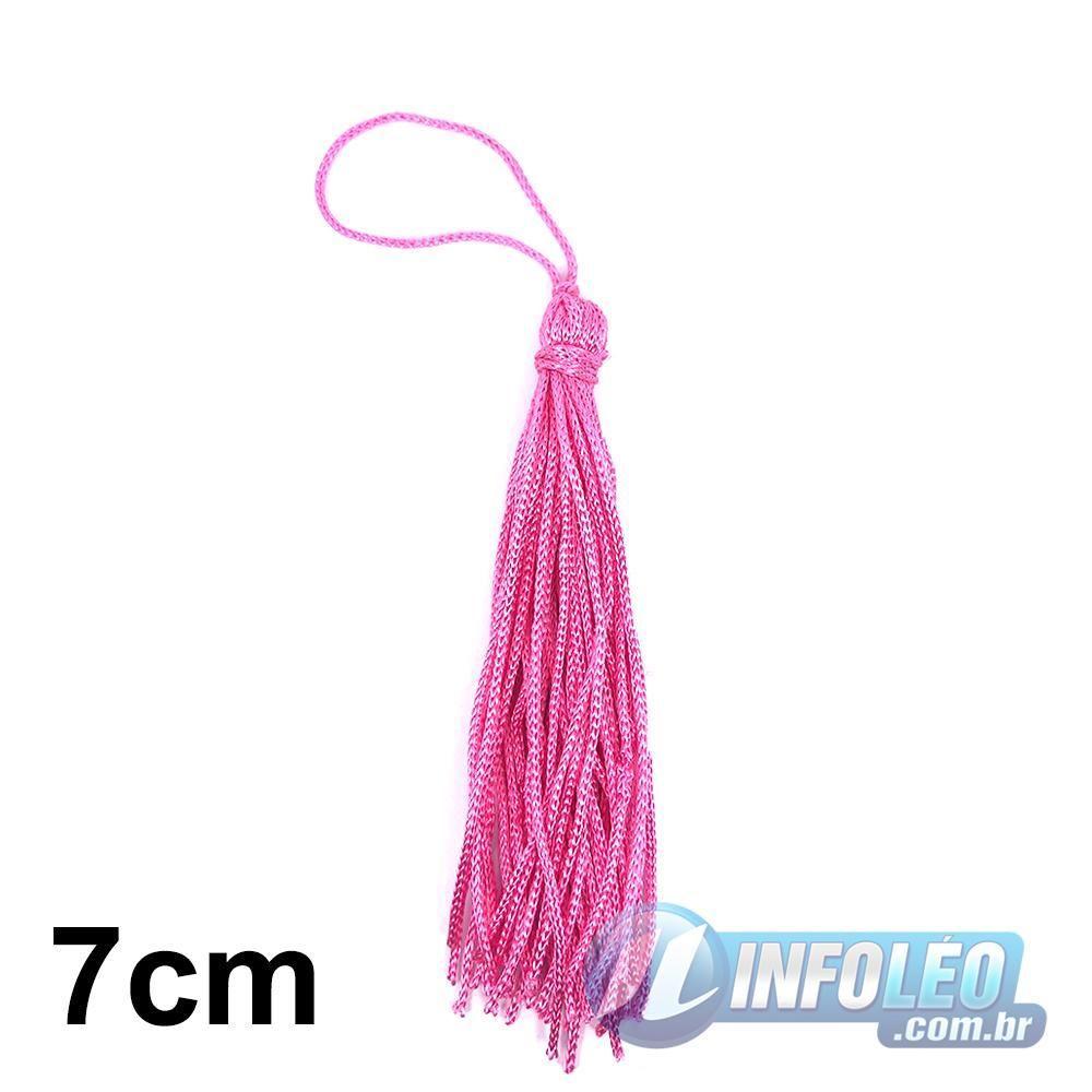 Pingente 7cm Rosa Pink 312 Franja de Seda (Tassel) - 10 unidades