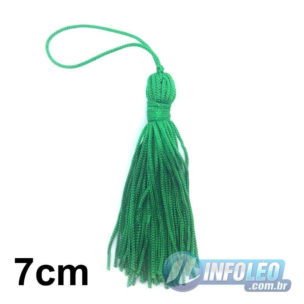 Pingente 7cm Verde Bandeira 540 Franja de Seda (Tassel) - 10 unidades