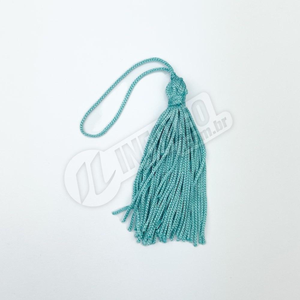 Pingente 7cm Verde Turquesa Franja de Seda (Tassel) - 10 unidades