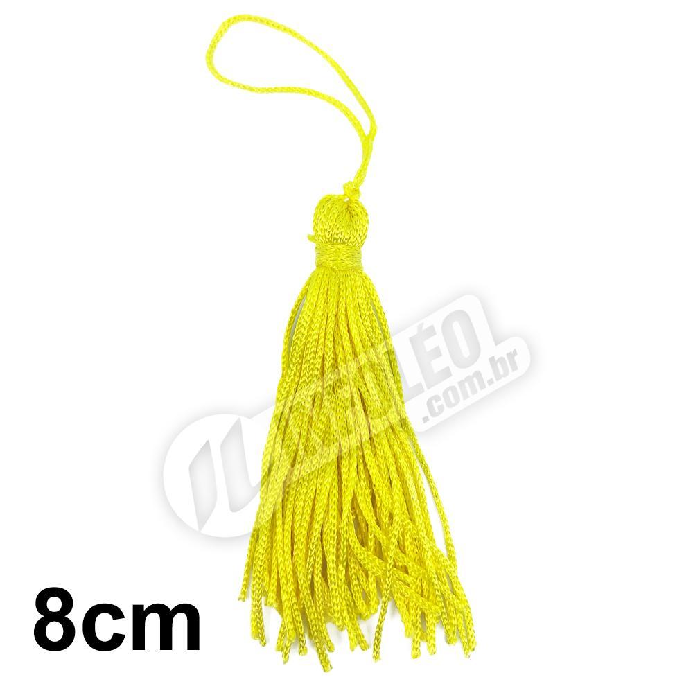 Pingente 8cm Amarelo 106 Franja de Seda - 10 unidades