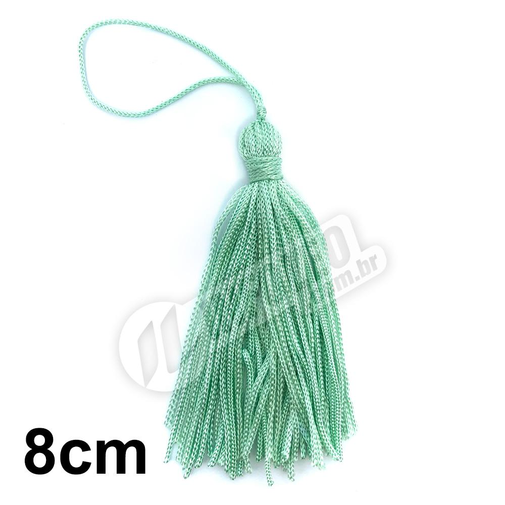 Pingente 8cm Verde Água 193 Franja de Seda - 10 unidades