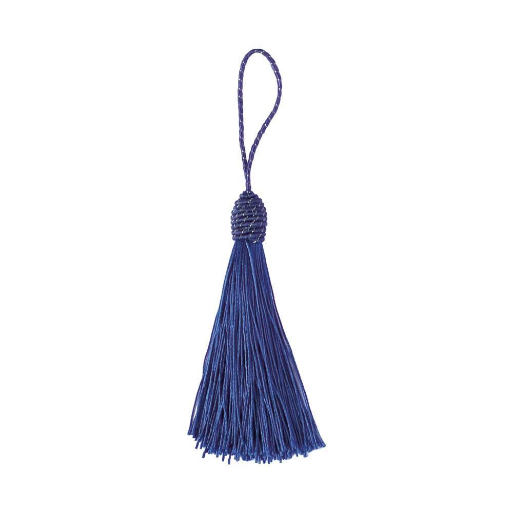Pingente Tassel 9cm Azul Marinho Franja de Seda - 2 unidades