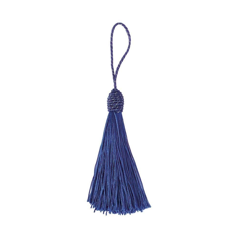 Pingente Tassel 9cm Azul Royal Franja de Seda - 2 unidades