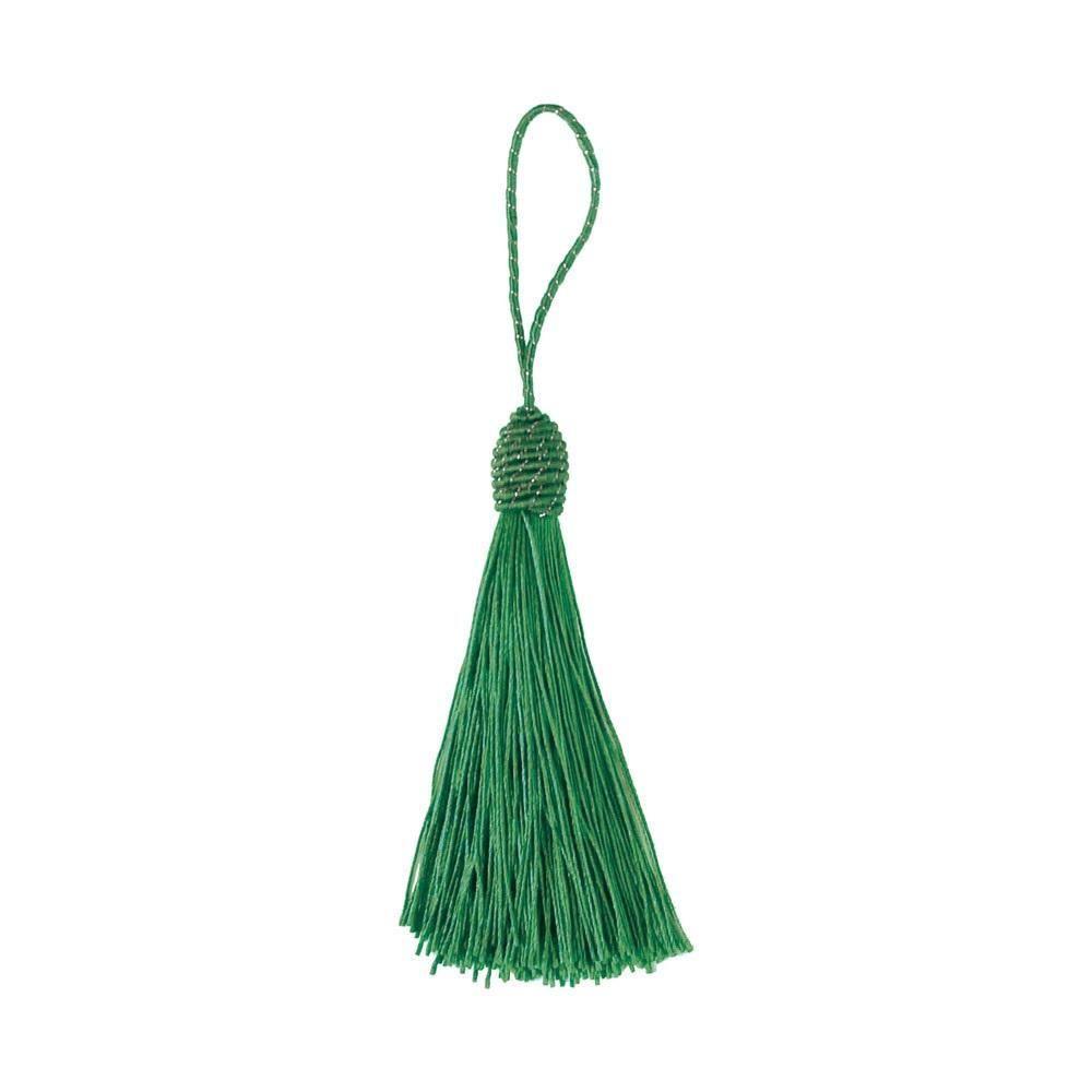 Pingente Tassel 9cm Verde Franja de Seda - 2 unidades