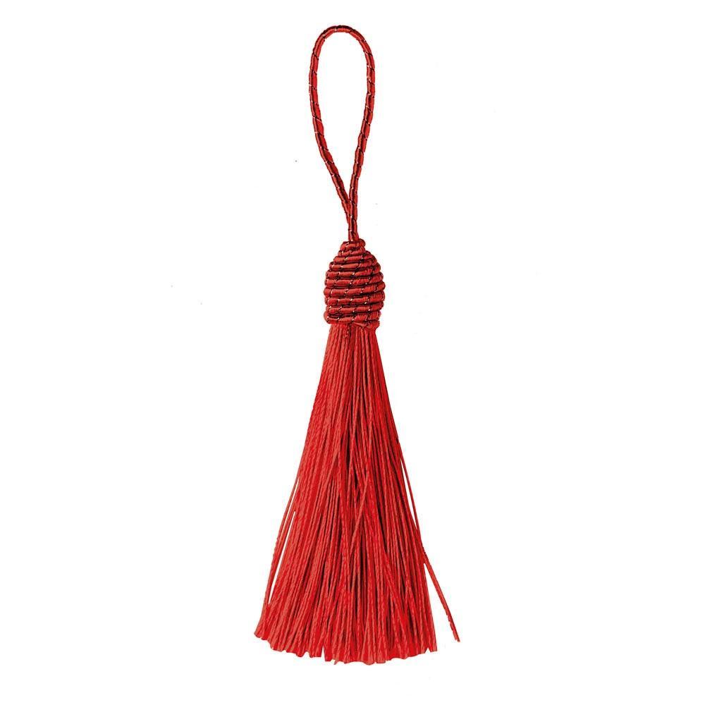 Pingente Tassel 9cm Vermelho Franja de Seda - 2 unidades