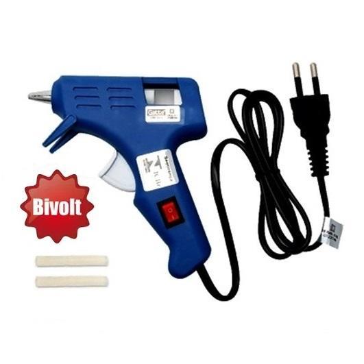 Pistola para Cola Quente 10W Bivolt Make+ Azul C/ Botão Liga/Desliga P/ Cola Fina