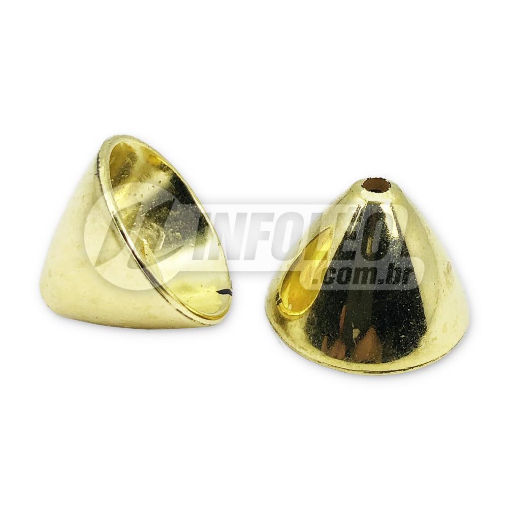 Ponteira Plástico 17x17mm Funil Dourado Pézinho - 10 unidades