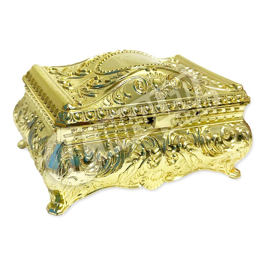 Porta-Jóias Retangular Dourado 9x4,5x5,5cm - Unidade