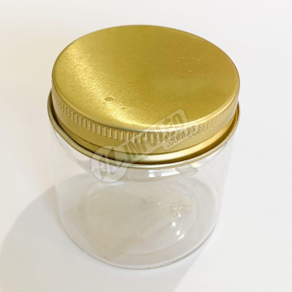 Pote de Plástico Redondo C/ Tampa de Aluminio Dourado 100g - Unidade
