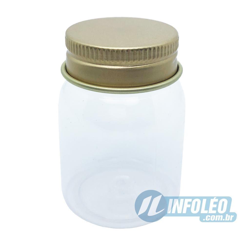 Pote de Plástico Redondo C/ Tampa de Aluminio Dourado 55ml AG0026 - Unidade