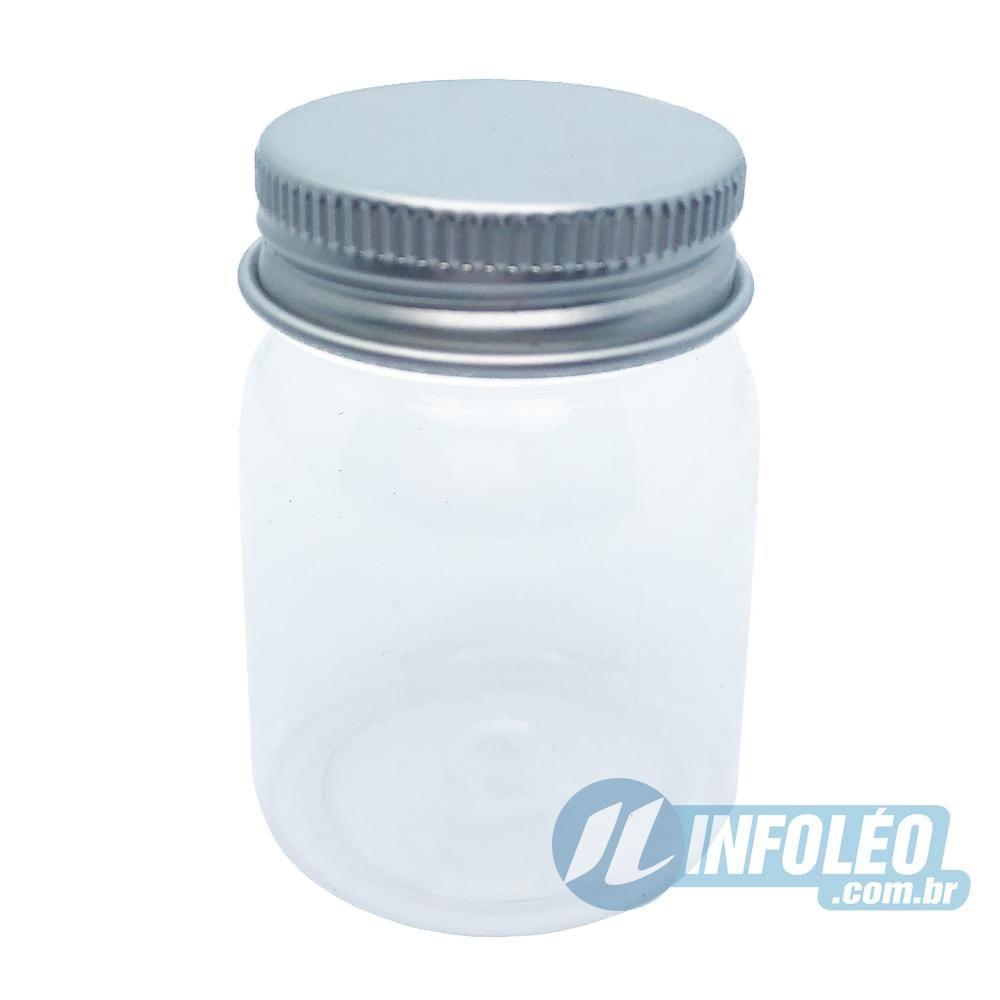 Pote de Plástico Redondo C/ Tampa de Aluminio Prata 55ml AG0027 - 12 unidades