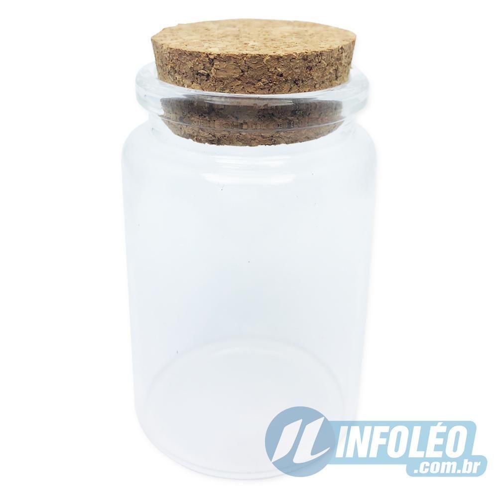 Pote de Vidro Redondo Transparente C/ Rolha 100ml 4,5x7cm AG0041 - Unitário