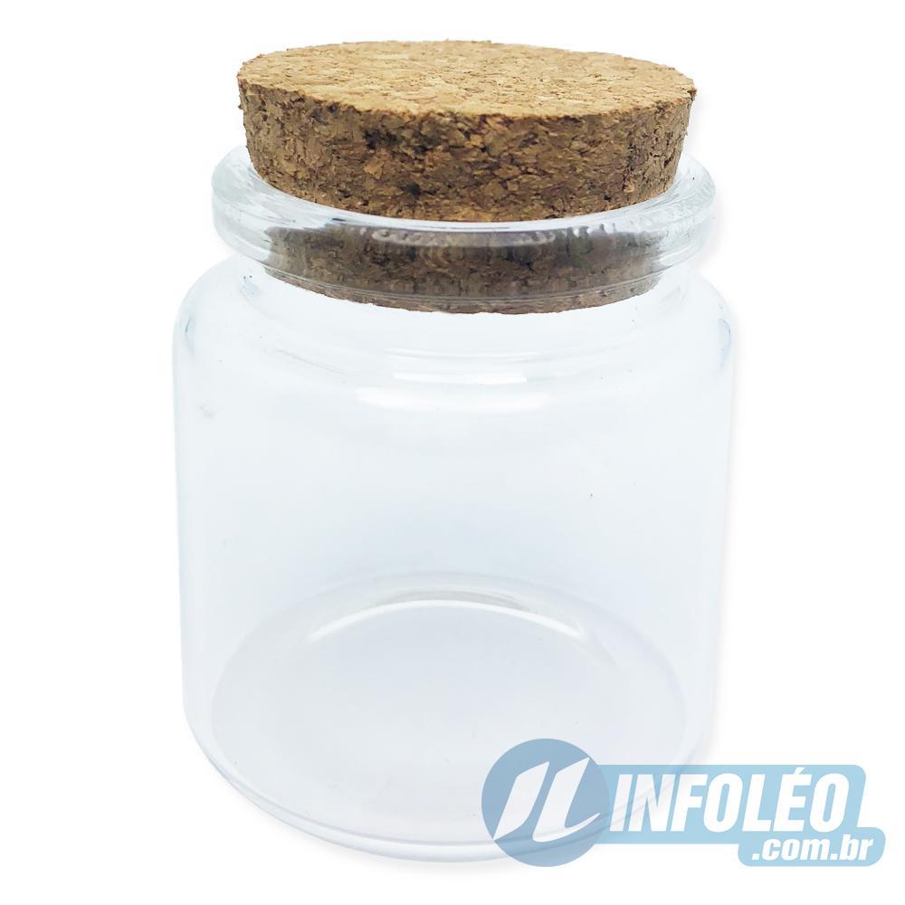 Pote de Vidro Redondo Transparente C/ Rolha 50ml 4,5x5cm AG0040 - Unitário