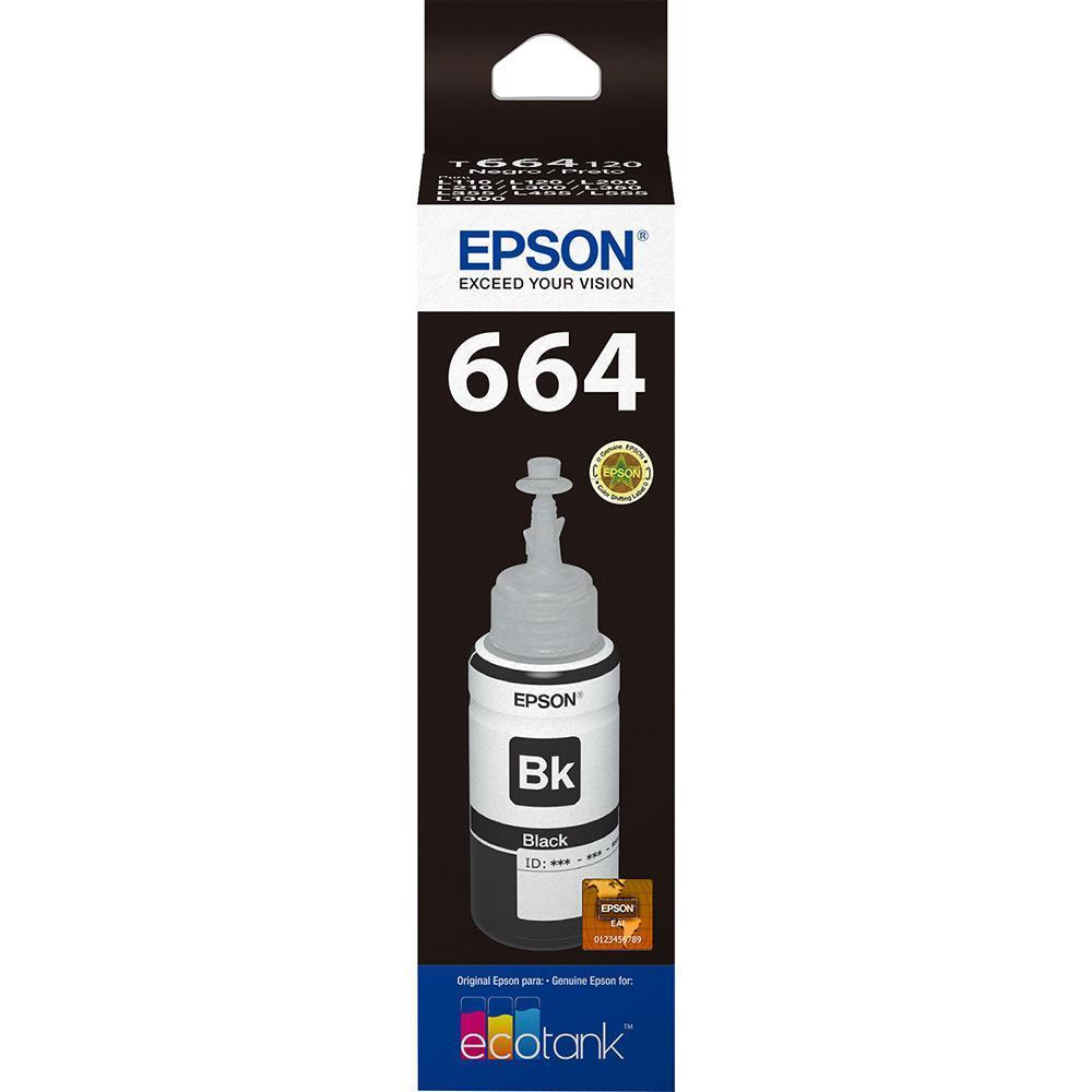 Refil Epson Preto P/ L110 / L120 / L200 / L210 / L220 / L355/ L365 / L455 / L555 / L565 / L375 / L575 / L1300 / L395 / L495 / L396 - T664120-AL