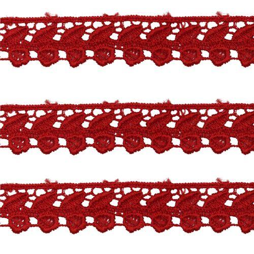 Renda Guipir 25mm Vermelho 145 CHL-599 - 2 Metros