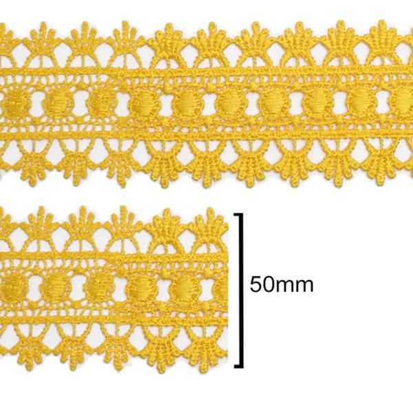 Renda Guipir 50mm Amarelo Ouro 124 CHL-618 - 2 Metros