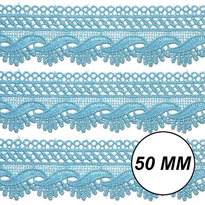 Renda Guipir 50mm Azul Turquesa 199 CHL-589 - 2 Metros