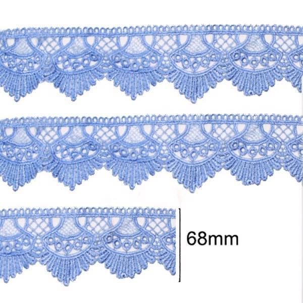 Renda Guipir 68mm Azul Bebê 177 CHL-438 - 2 Metros