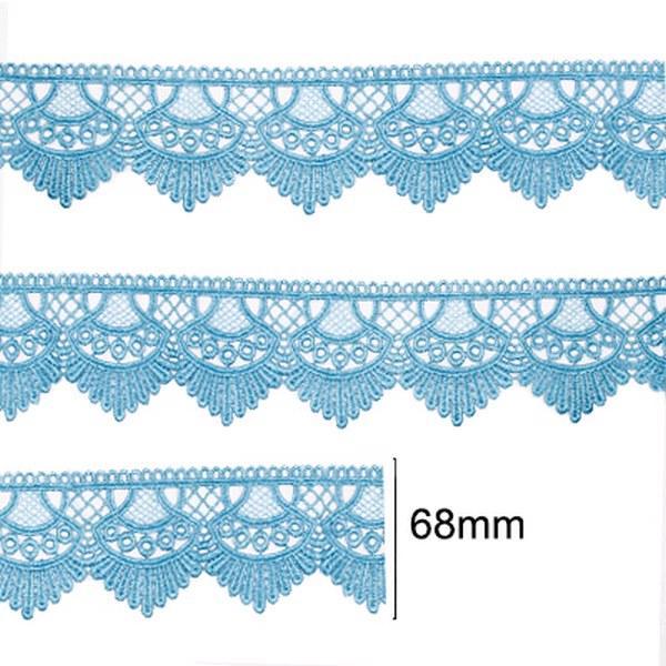 Renda Guipir 68mm Azul Turquesa 199 CHL-438 - 2 Metros
