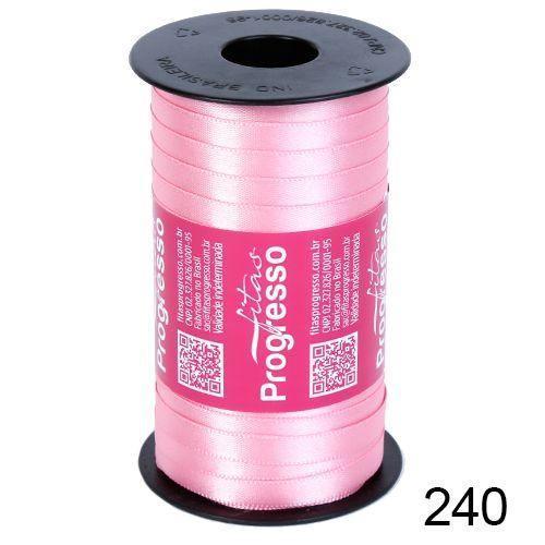 Rolo Fita Cetim Rosa Escuro 240 7mm nº001 Progresso 100 metros