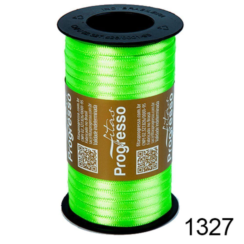 Rolo Fita Cetim Verde Limão 1327 7mm nº001 Progresso 100 metros