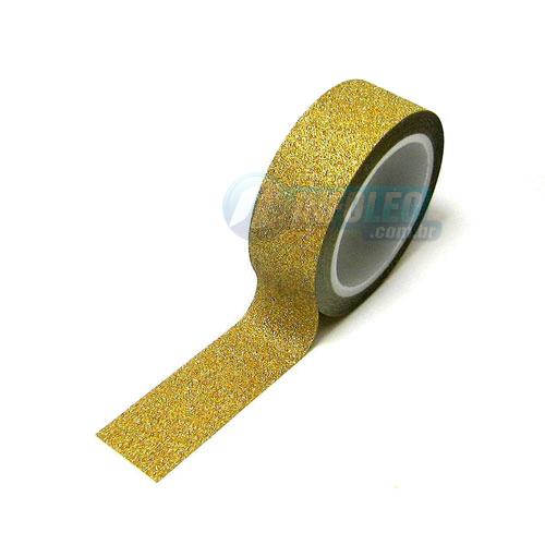 Rolo Fita Glitter Dourado Ouro 1,4cm 4MT