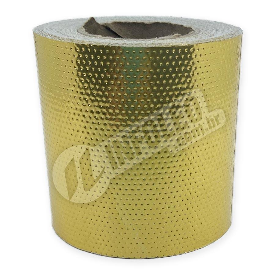 Rolo Lonita Laminado com Furos Dourado 6cm x 5 metros