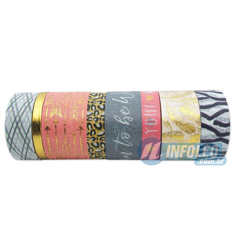 Rolos de Fitas de Papel Onça 1 Metro Washi Tape - 8 Rolos Variados