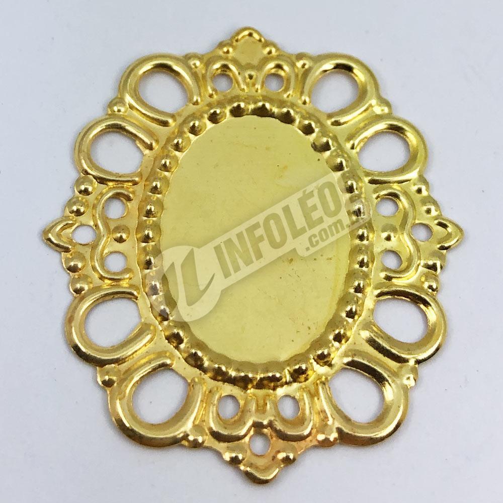 Tag Oval 2,2x2,7cm Dourada Borda Vazada - 10 unidades
