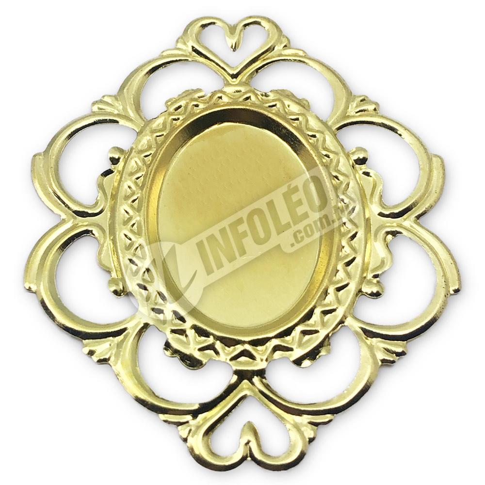 Tag Oval 4x5cm Dourada Coração Borda Vazada - 10 unidades